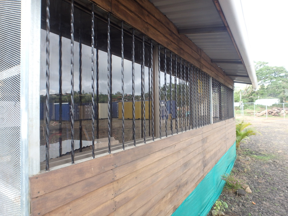 Metal Bars on shipping container home